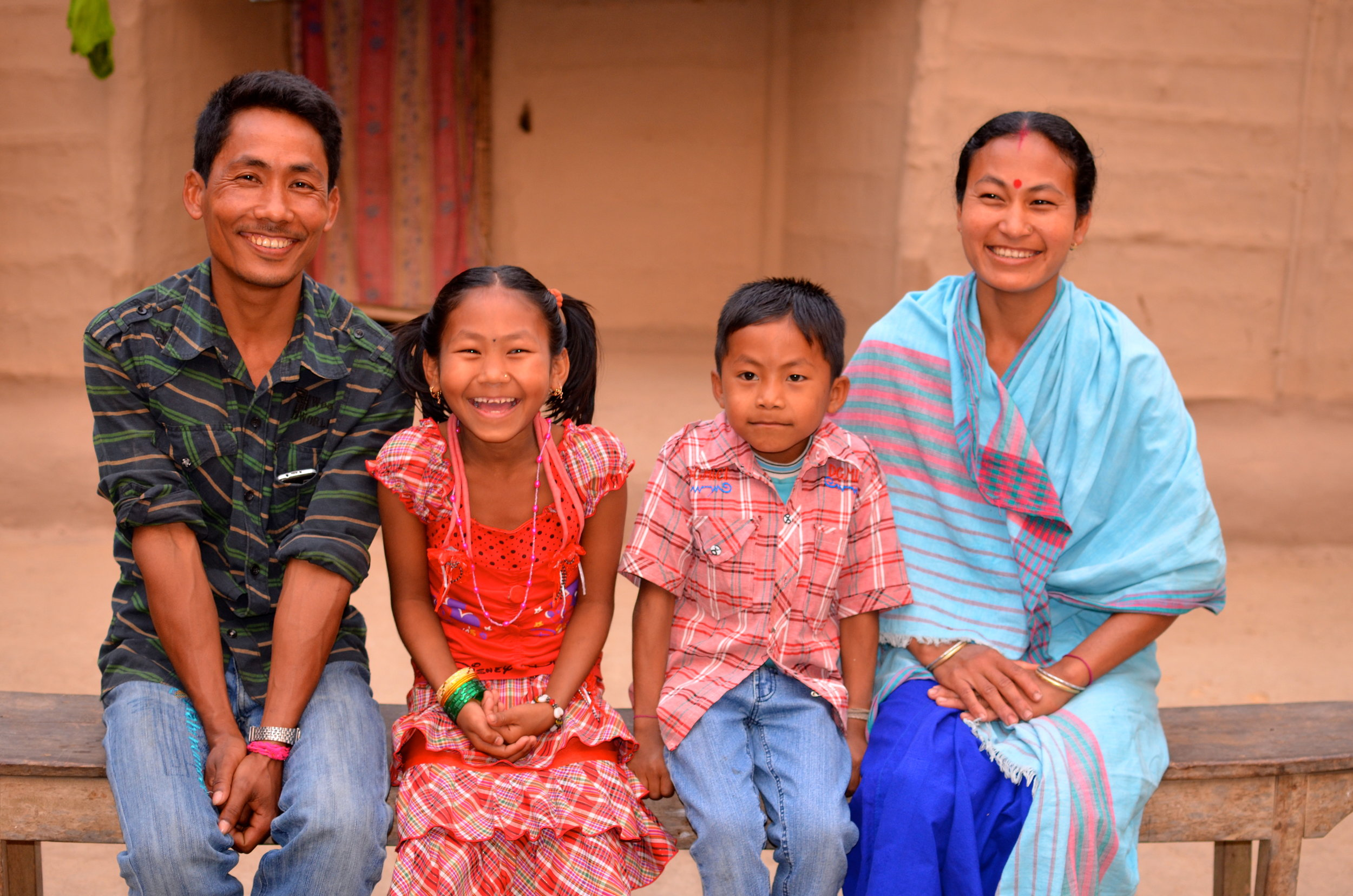 Elrhino jobholder, Dimbeshwar, and his family.