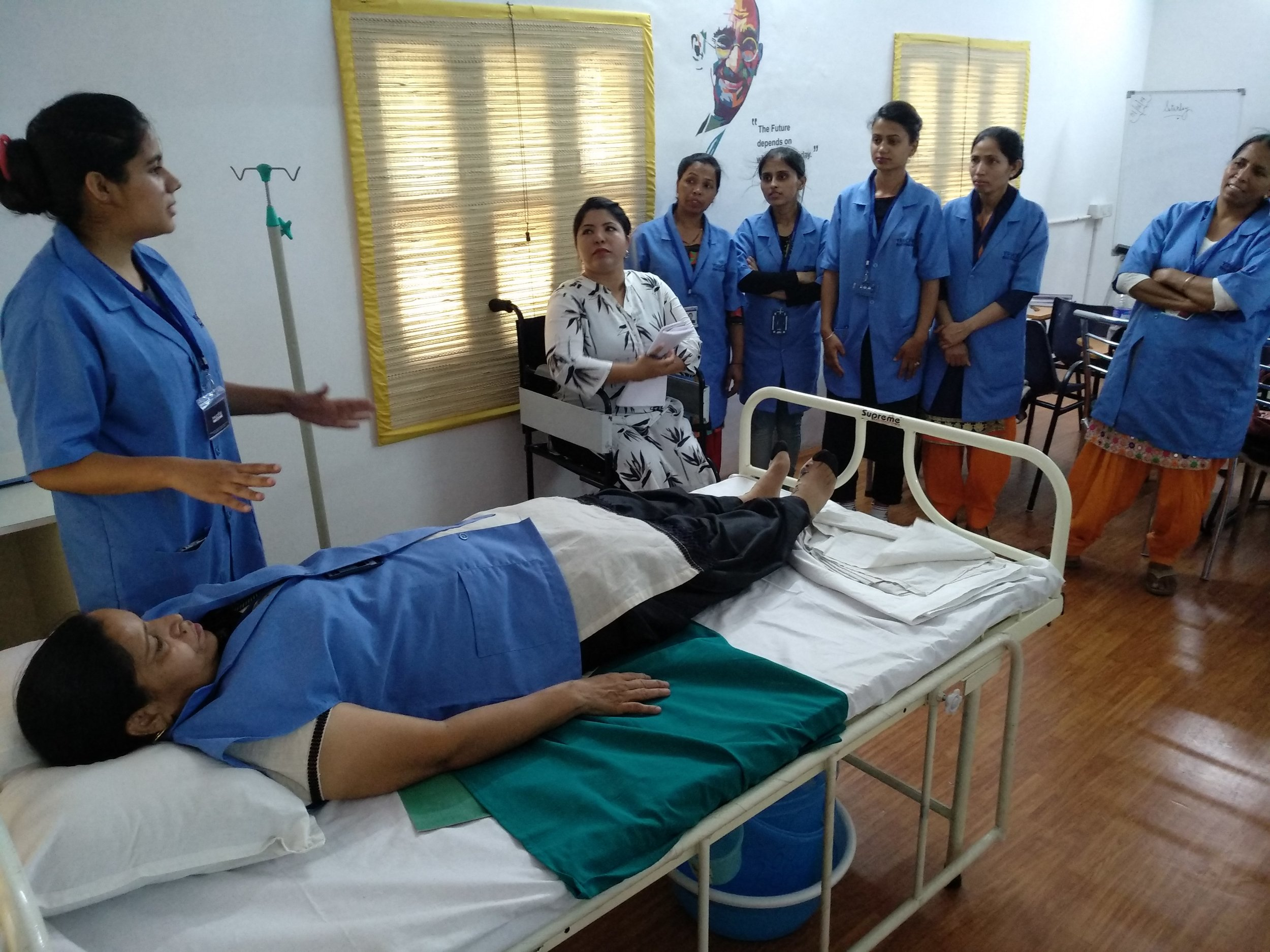 Students participate in a training session at YouCare's training facility.
