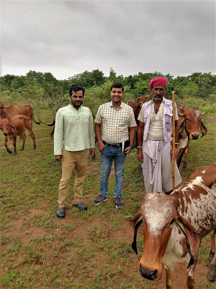 Upaya's Amit Choudhary (center) on a field visit to meet the farmers working with Krishi Naturals.