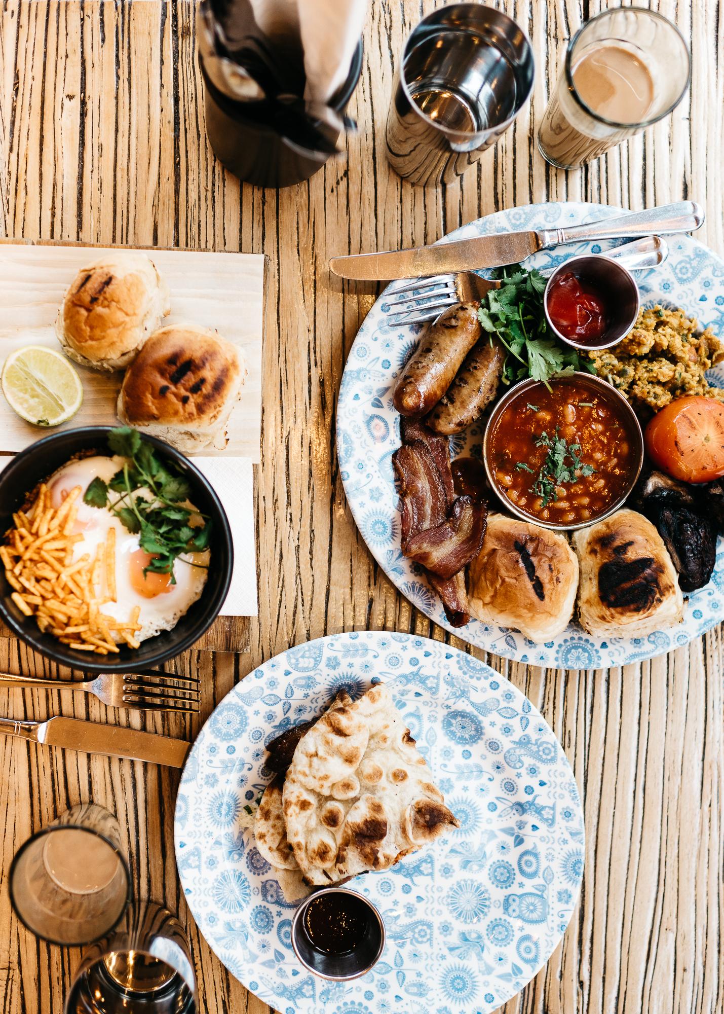 Breakfast at Dishoom: Keema per Eedu, The Big Bombay, Bacon Naan Roll