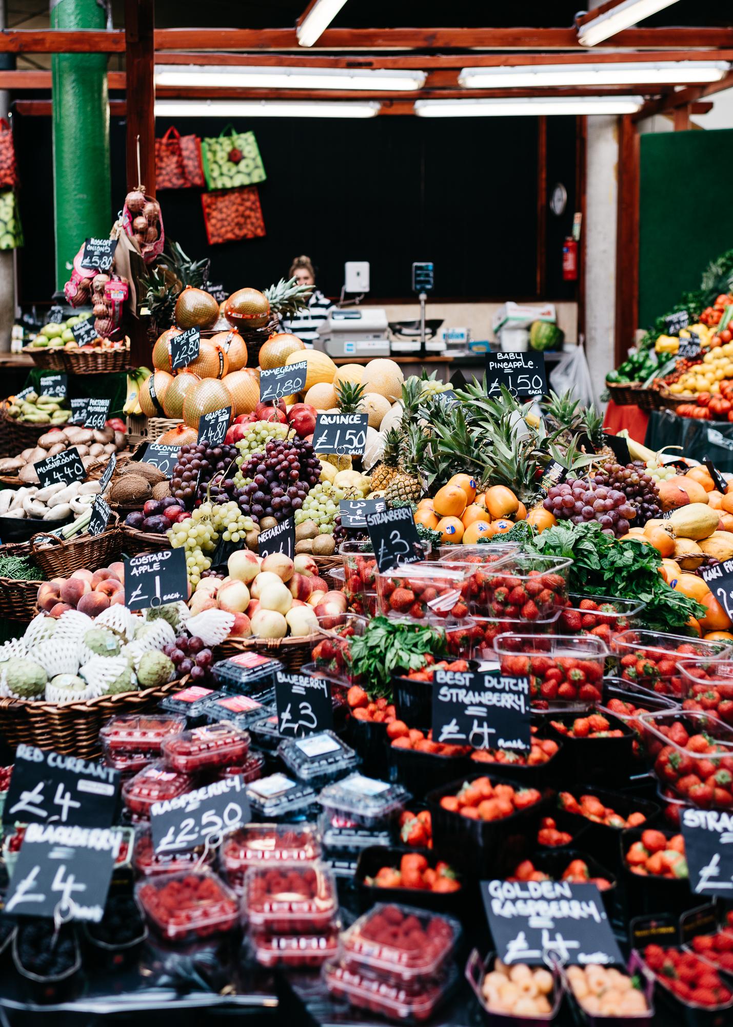 Impressive produce display at Borough Market
