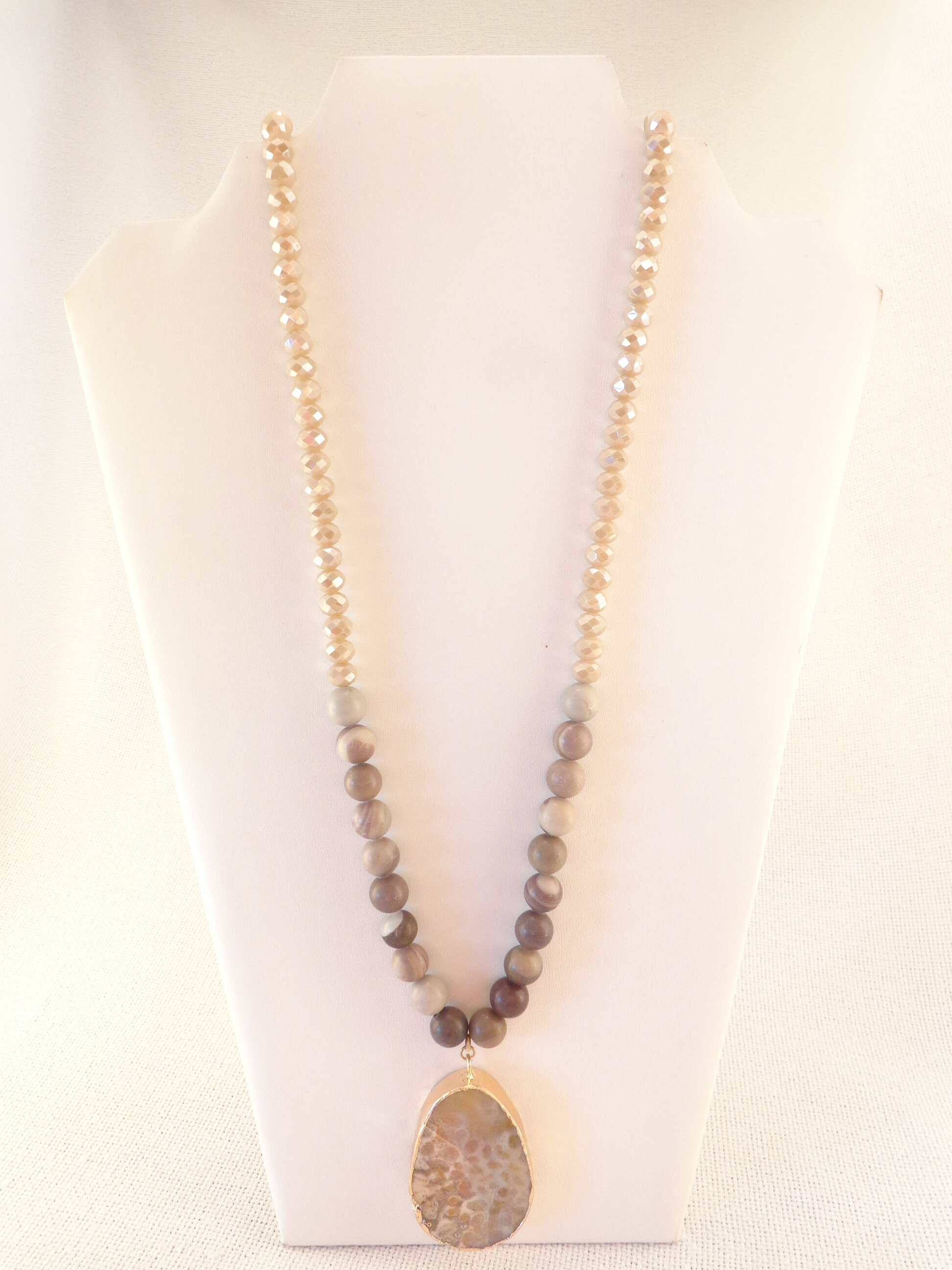 Necklace Beaded Pendant Necklace in brown