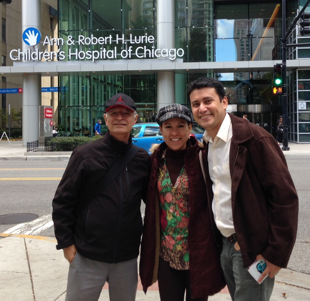 Juan Lorenzo Hinojosa with Bolivian cardiologists Dr. Virna Severiche and Dr. Paulo Rosado, who spent three weeks at Lurie Children's Hospital to observe best practices.