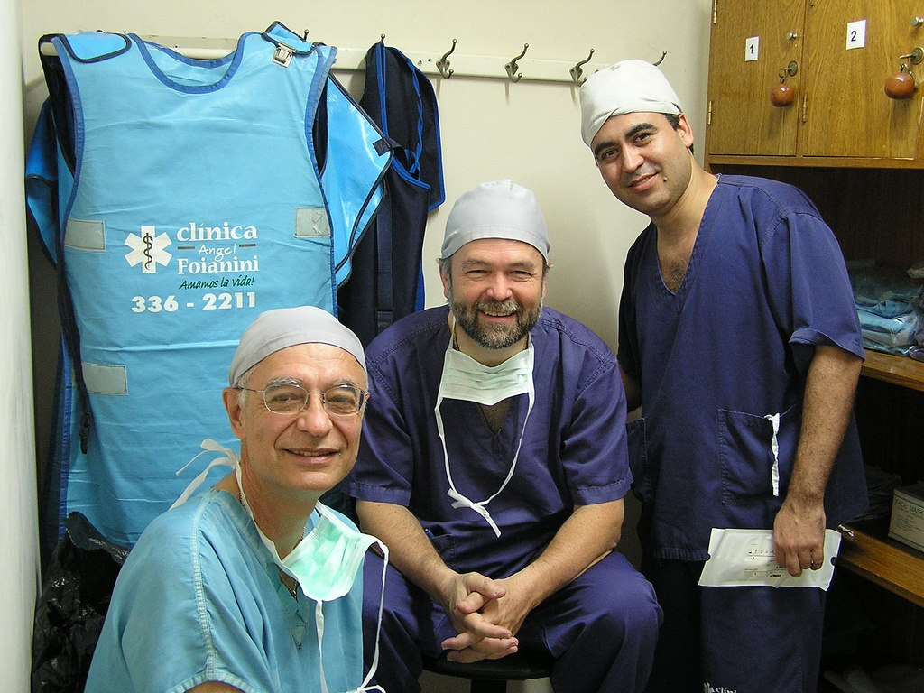 Juan Lorenzo Hinojosa, PhD (Founding/New Initiatives Director), Richard Moser, MD (Neurosurgery Program Medical Director), and Gueider Salas, MD (Neurosurgery Medical Partner) gathered during an early Neurosurgery Mission Trip.