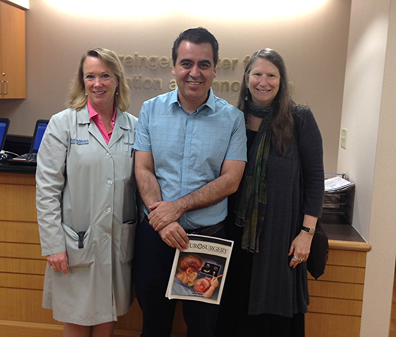 Gail Rosseau, MD, Gueider Salas, MD, and Roberta Glick, MD at Evanston Hospital during Salas' 2014 Solidarity Visit.