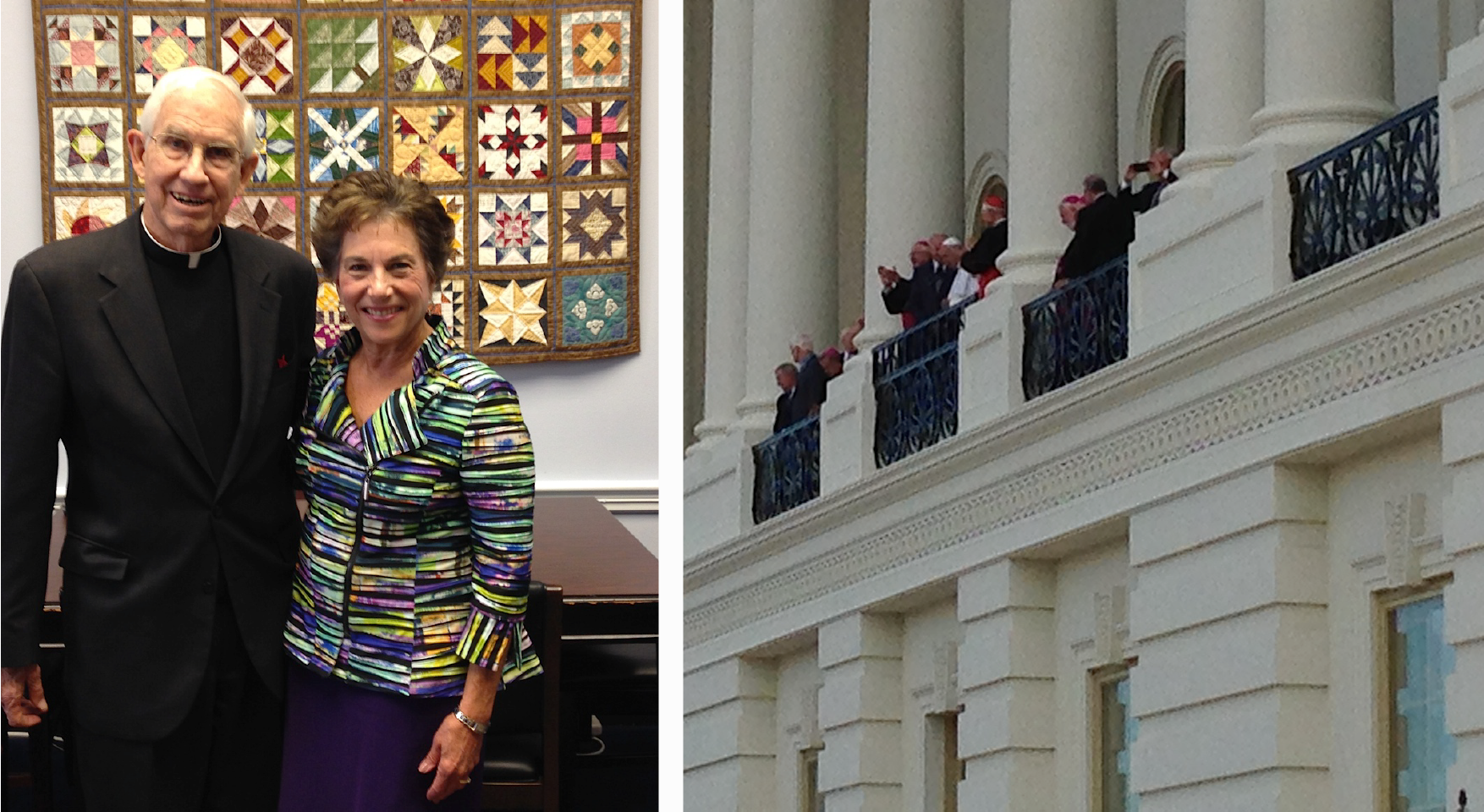 Fr. Bob Oldershaw and Congresswoman Jan Schakowsky in Washington, DC had the privilege of seeing Pope Francis.