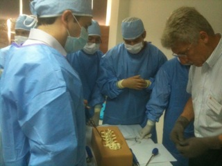 Dr. John Weaver instructs at the spine station during the first Boot Camp in Bolivia.
