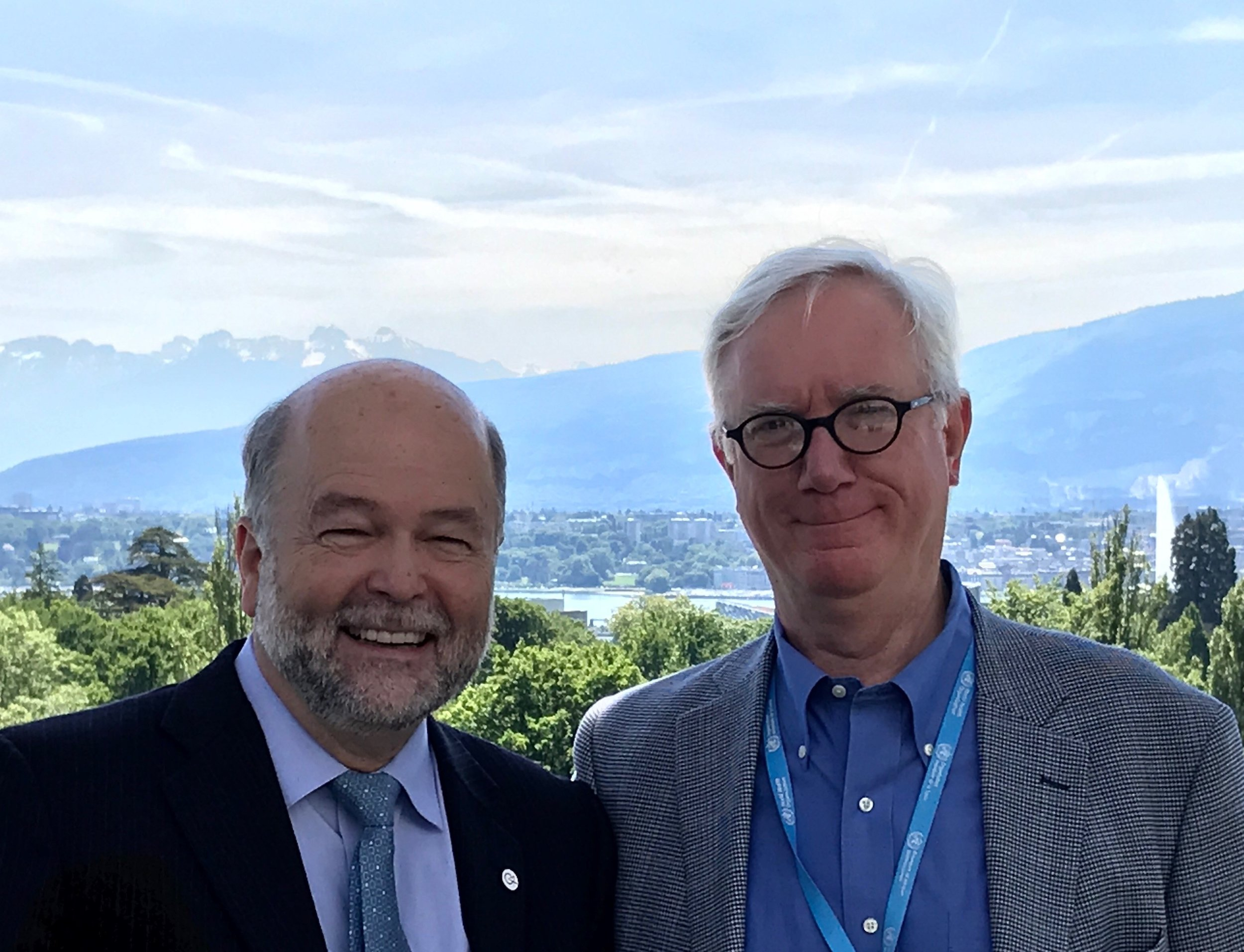 Dr. Moser (left) is pictured here with Dr. Walt Johnson, Director of the WHO Global Program on Essential and Emergent Surgical Care, a former neurosurgeon and friend of Solidarity Bridge.