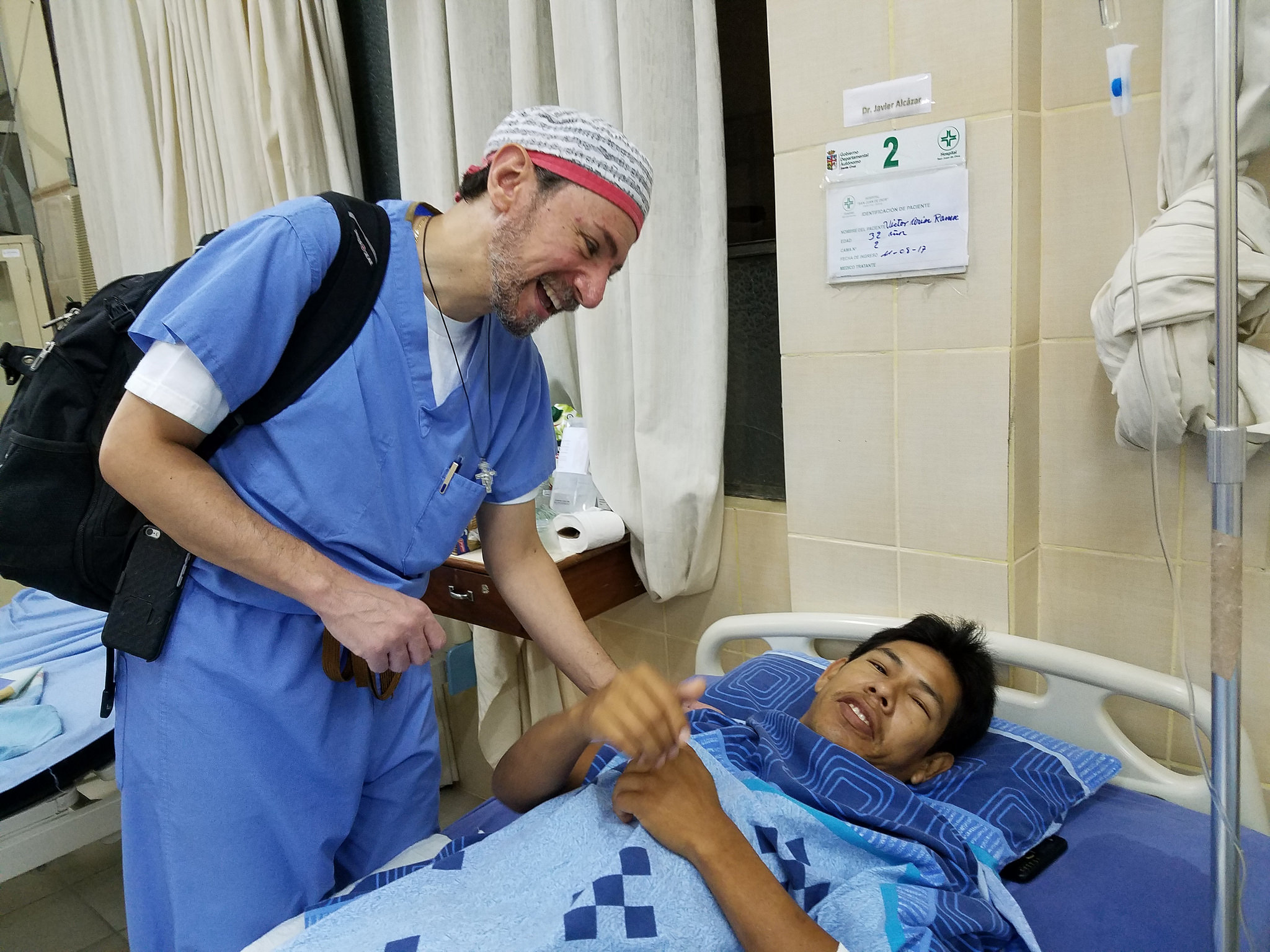 Above photo: Dr. Magued Khouzam is delighted to find Victor in good spirits the morning after surgery.
