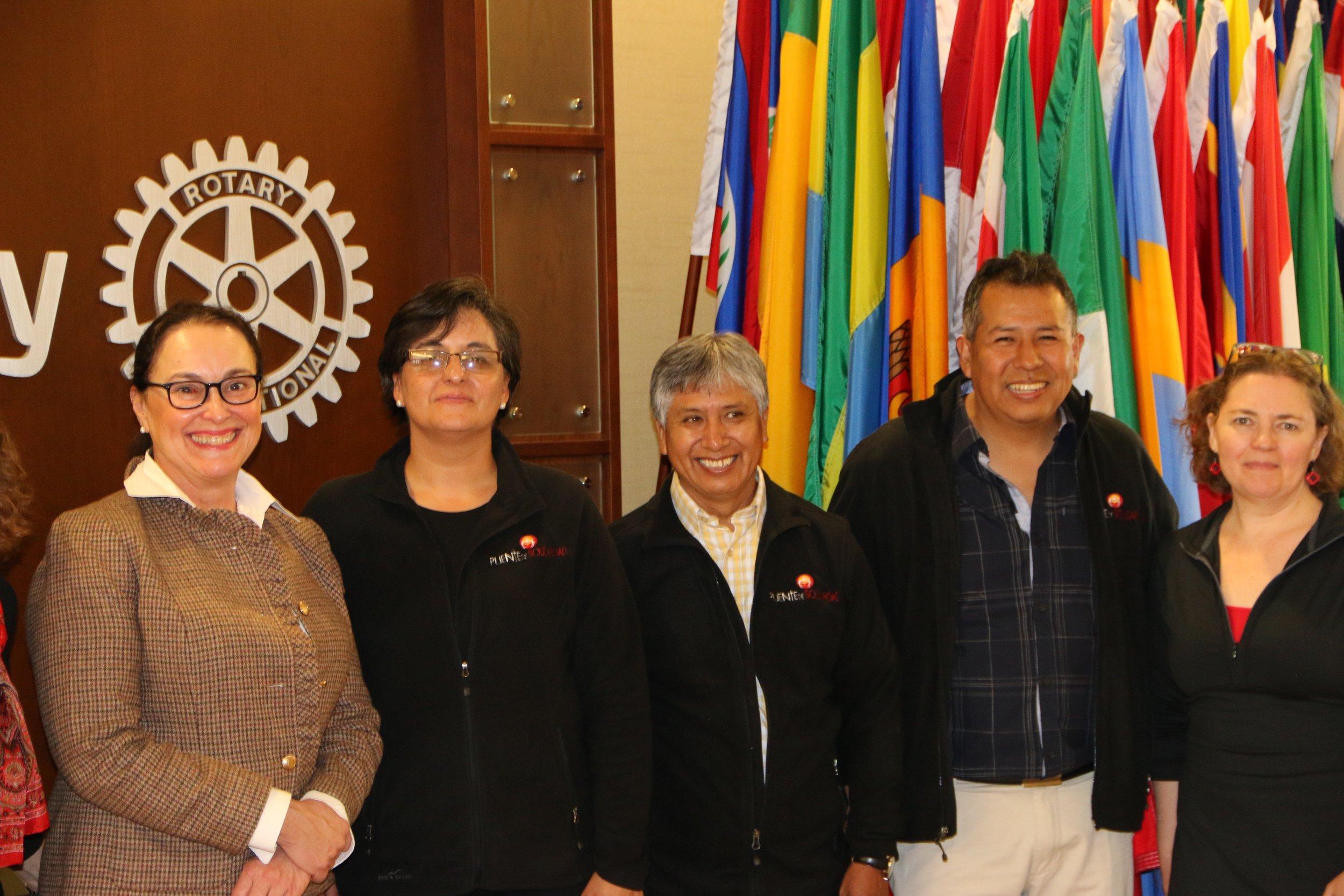 From left: Margarita Hewko (Rotary/One), Patricia Vargas (Puente de Solidaridad), Drs. Jaime Vallejos and Johnny Camacho (Viedma Hospital), and Jodi Grahl (Solidarity Bridge) in Evanston, April 2018.
