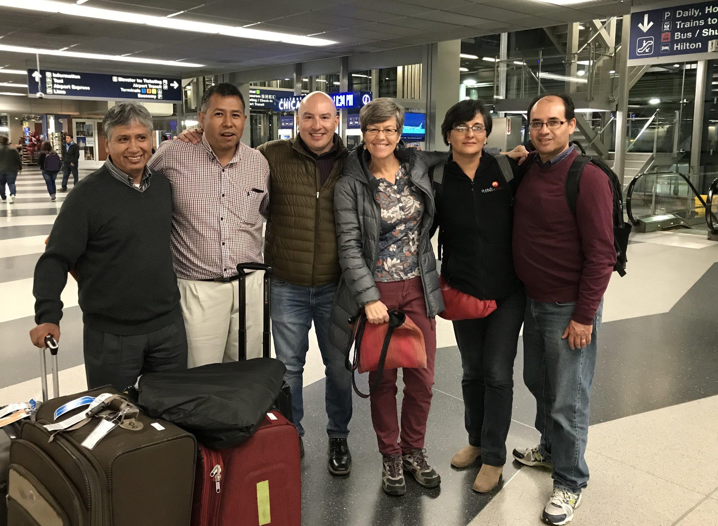Arriving at O'Hare Airport (from left): Jaime Vallejos, Johnny Camacho, Marco Fernandez, Ann Rhomberg, Patricia Vargas, Carlos Decker