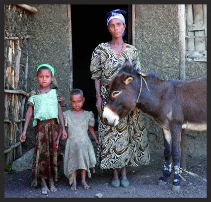 A woman in Ethiopia with her daughters and the donkey who provides their sole means of support.