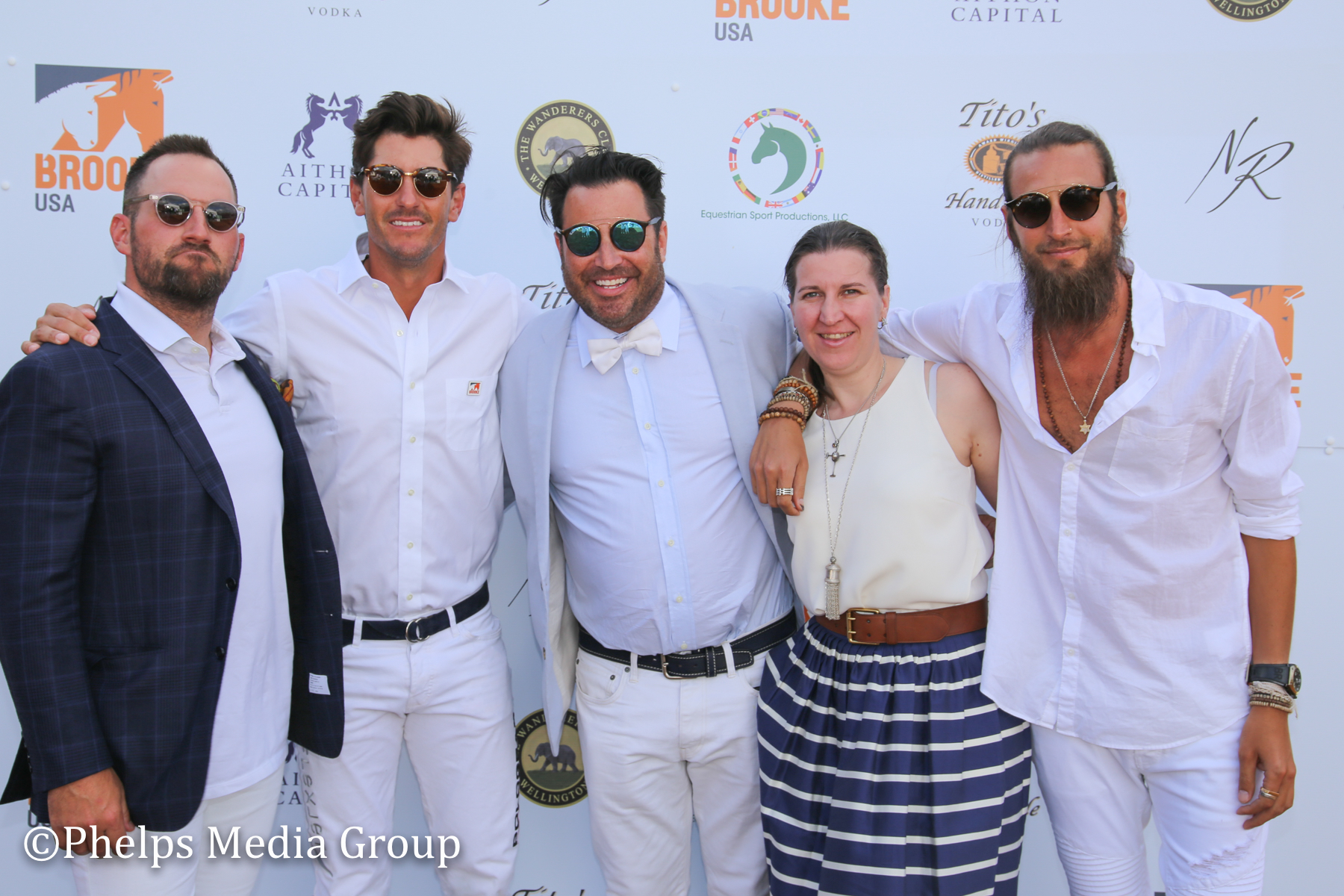 #TeamNR- Topher Grubb, Nic Roldan, Josh Sagman, Natascha Baecher (dressed by Ralph Lauren UK)& DJ Adam Lipson; Nic Roldan's 2nd Annual Sunset Polo & White Party, FL, by Phelps Media.jpg