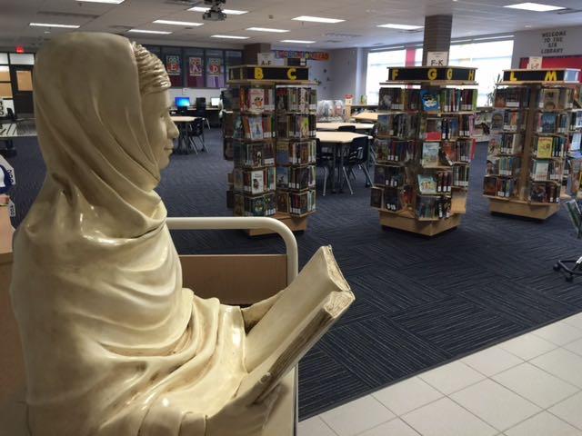 Malala sculpture at home in Sir Isaac Brock PS Library
