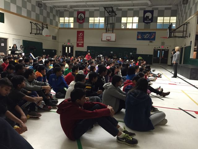 Assembly at Lougheed Middle School