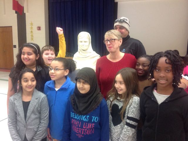 Students at Munden Park School with their Malala sculpture