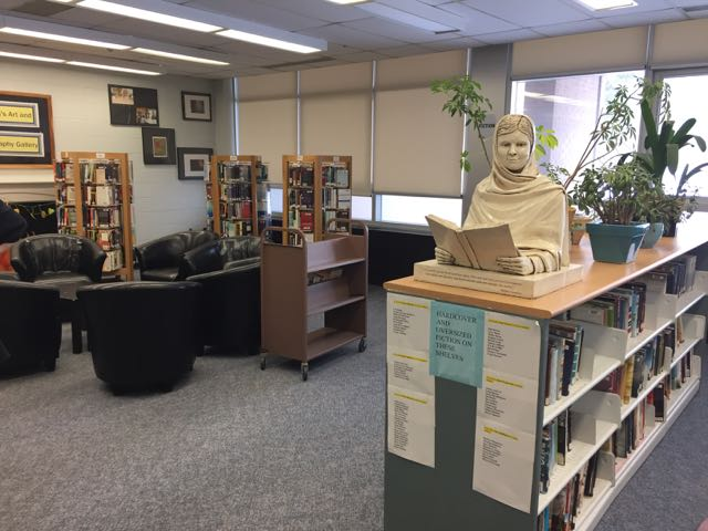 Malala sculpture at home in the Clarkson Secondary School library