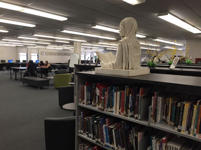 Malala sculpture at home in the Meadowvale Secondary School library