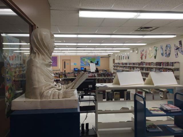 Malala sculpture at home in the Gordon Graydon Sr Public School library