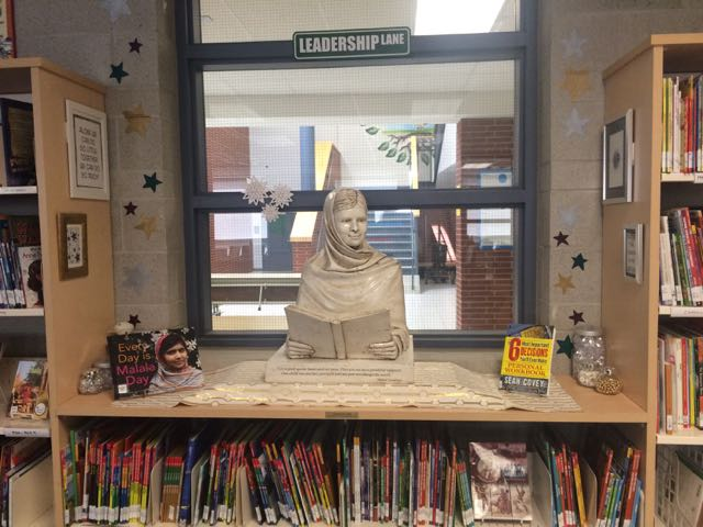 Malala sculpture at home in the Beryl Ford Public School library