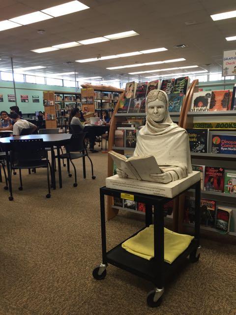 Malala sculpture at home in the Gordon Graydon Memorial Secondary School library