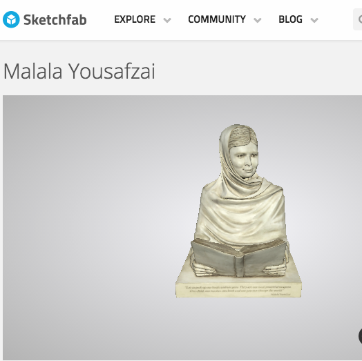 Print your own Malala Sculpture!!! Royalty Free 3D Scan available here!