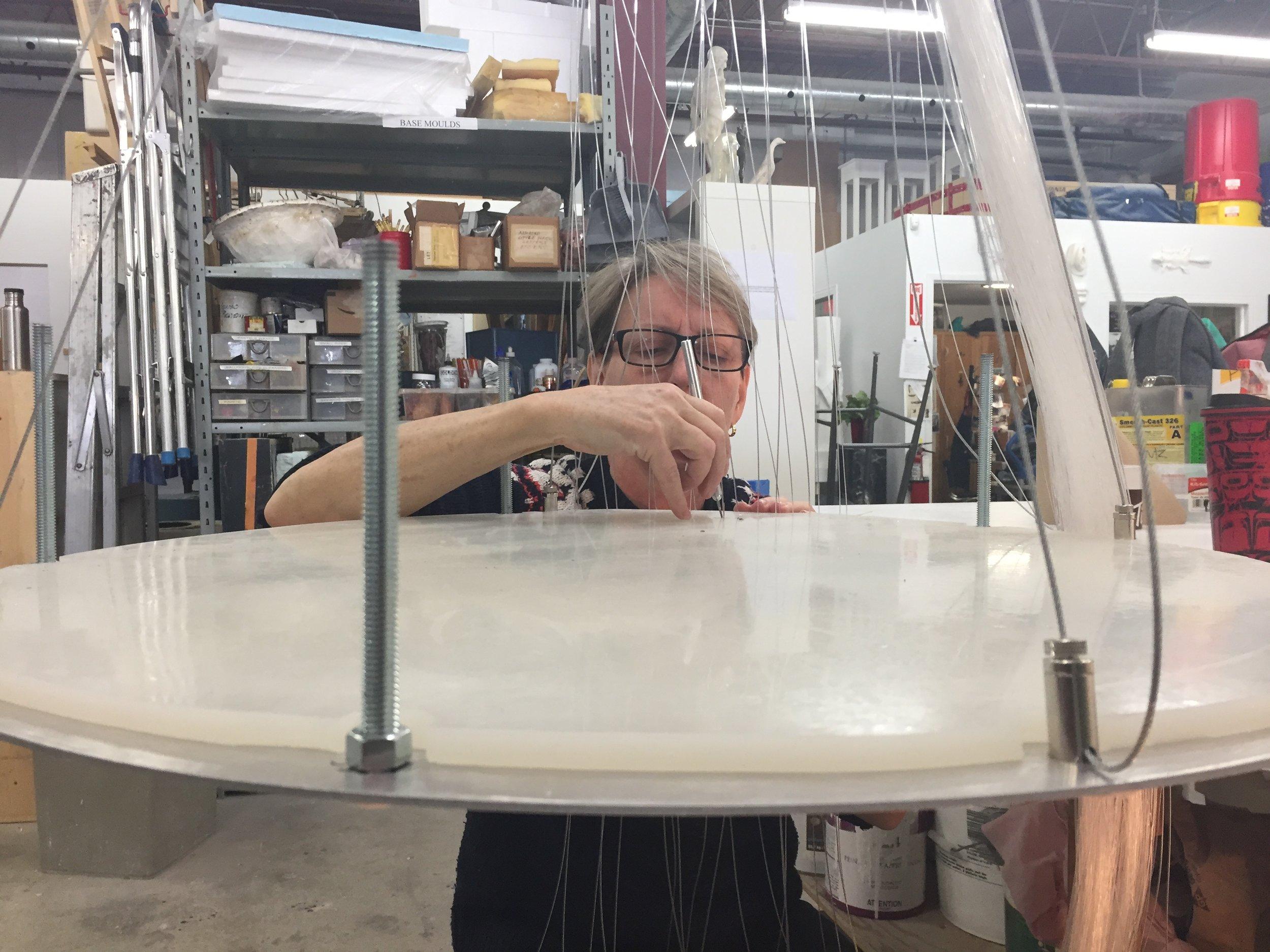 Stringing fiber optics