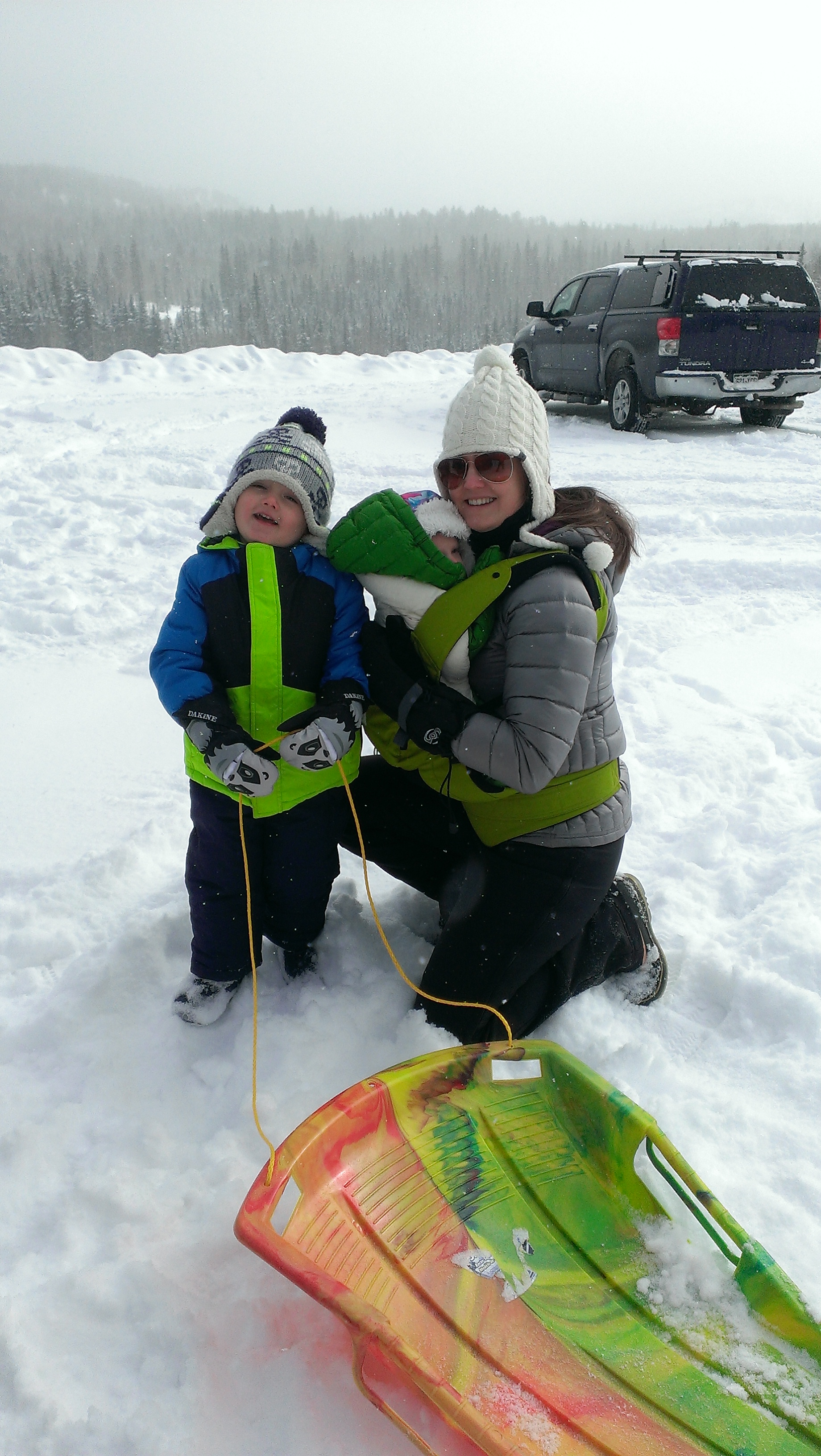 Sledding at Lime Creek