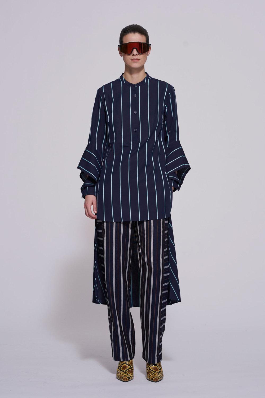 navy and aqua stripe -