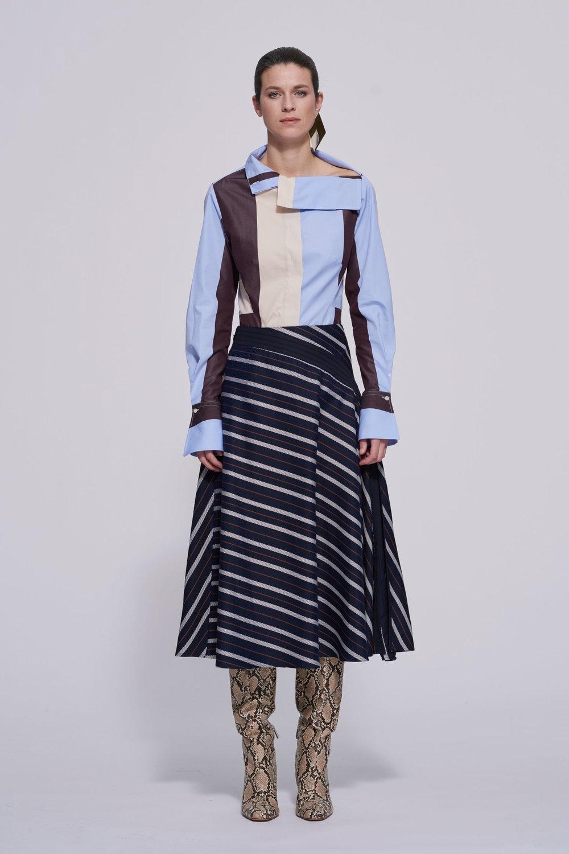 navy and white twill stripe -