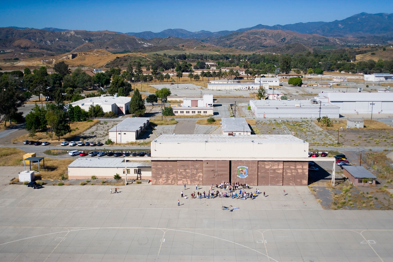 High above the F-18 hanger used to make the Great Picture with a portion of the El Toro Marine base in the background.
