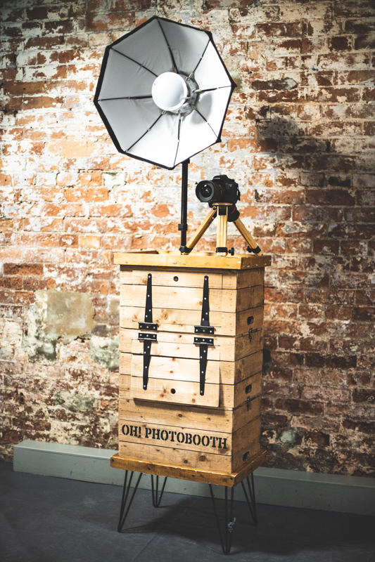 BEEHIVE - Our original photobooth, affectionately nick-named The Beehive for obvious reasons. Made from a stack of vintage apple-crates atop industrial steel hairpin legs, it houses all the latest gear and printer. It's rustic and charming. Prints pop out of it's side ready for guests to take home.