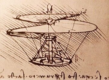 Leonardo da Vinci's aerial screw in a drawing from 1493.