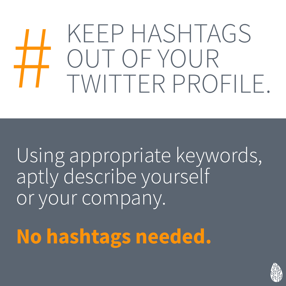 hashtags in Twitter profile