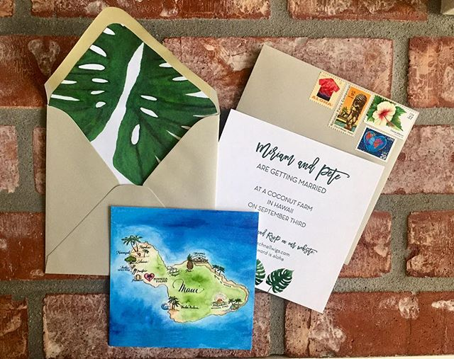 There comes a time in every young stationers life when she gets to do her own wedding invitations. We're getting maui'ed! And have a lot of vintage tropical postage to prove it! . . . . . . #weddinginvitations #stylemepretty #letterpress #wedding #weddinginvites #marthastewartweddings #theknot
