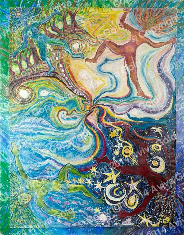 Cosmic Creator Tempera on Paper Aviva Gold, 1984