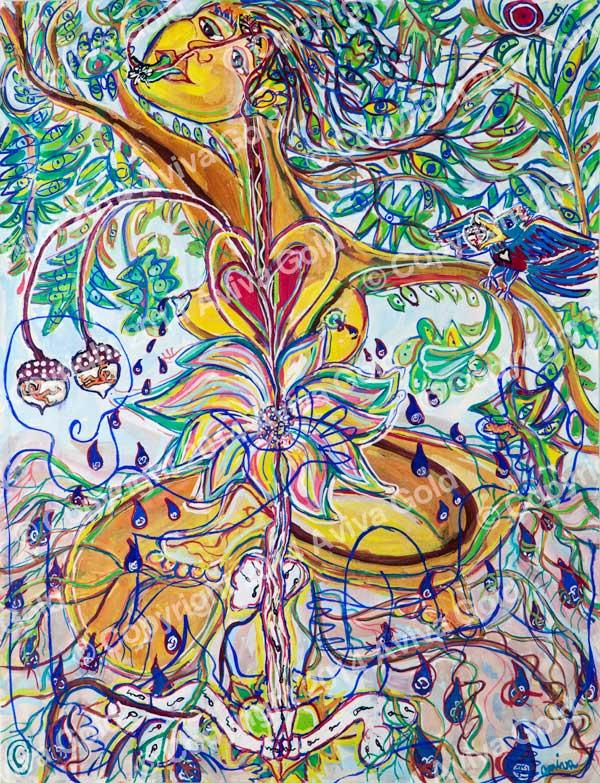 Fertile Mother Earth Tempera on Paper Aviva Gold, 1985