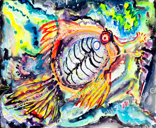 Sea Life   Watercolor on Paper   Aviva Gold, 1996