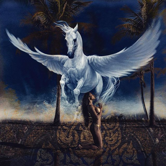 """Higher calling - 2018 - work in progress. Daniel Stanford dives into your life mission what do you pray for? #workinprogress #newconcept Latest Mystical piece. #painting """"Higher Calling Pegasus Dream"""" Mixed media Painting and reproduction prints available soon! Reserve yours now.#sneekpeek #politicalart #fineart . . . #danielstanfordart #inspiration #fascinasia #collectorart #artoftheday #collected #neopopart #contemporaryart #printavailable #emergingartist #montrealartist #museumart #canadianartist #painter #mixedmedia  #Laos #skull #transformativeart #zenart #macayagallery #curation #thompsonlandrygallery @daniel_stanford_art @bodybynixx #bodybynixx"""