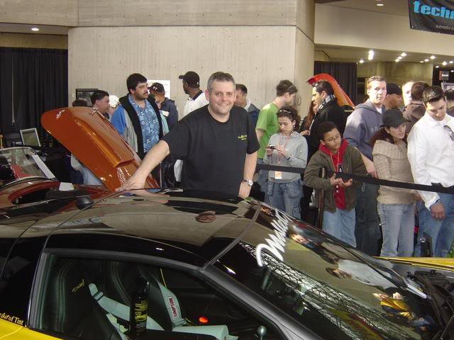 Tint demonstrations at the NY International Auto Show.  Daily demonstrations tinting this 1000 hp Vette drew 1000's of onlookers. Huper Optik 40% was used on this Mallett edition Corvette.