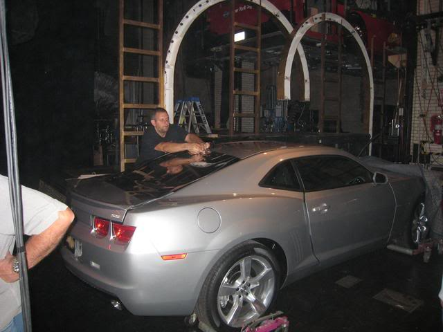 """This 08 Pre production Camaro was tinted on the backstage of Radio City Music Hall. This car was used on stage for the Fashion Rocks Concert, the tint was hiding Blondie while Fergie sings and dances on the car. Click to view the video. We were hired for the day because we needed to remove the film the minute the show was over. Our favorite part was listening to Kid Rock rehearse """"All summer long"""" for hours."""
