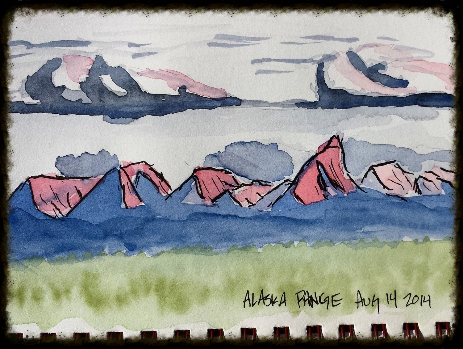 deborah-hayes range: ink and watercolor on paper