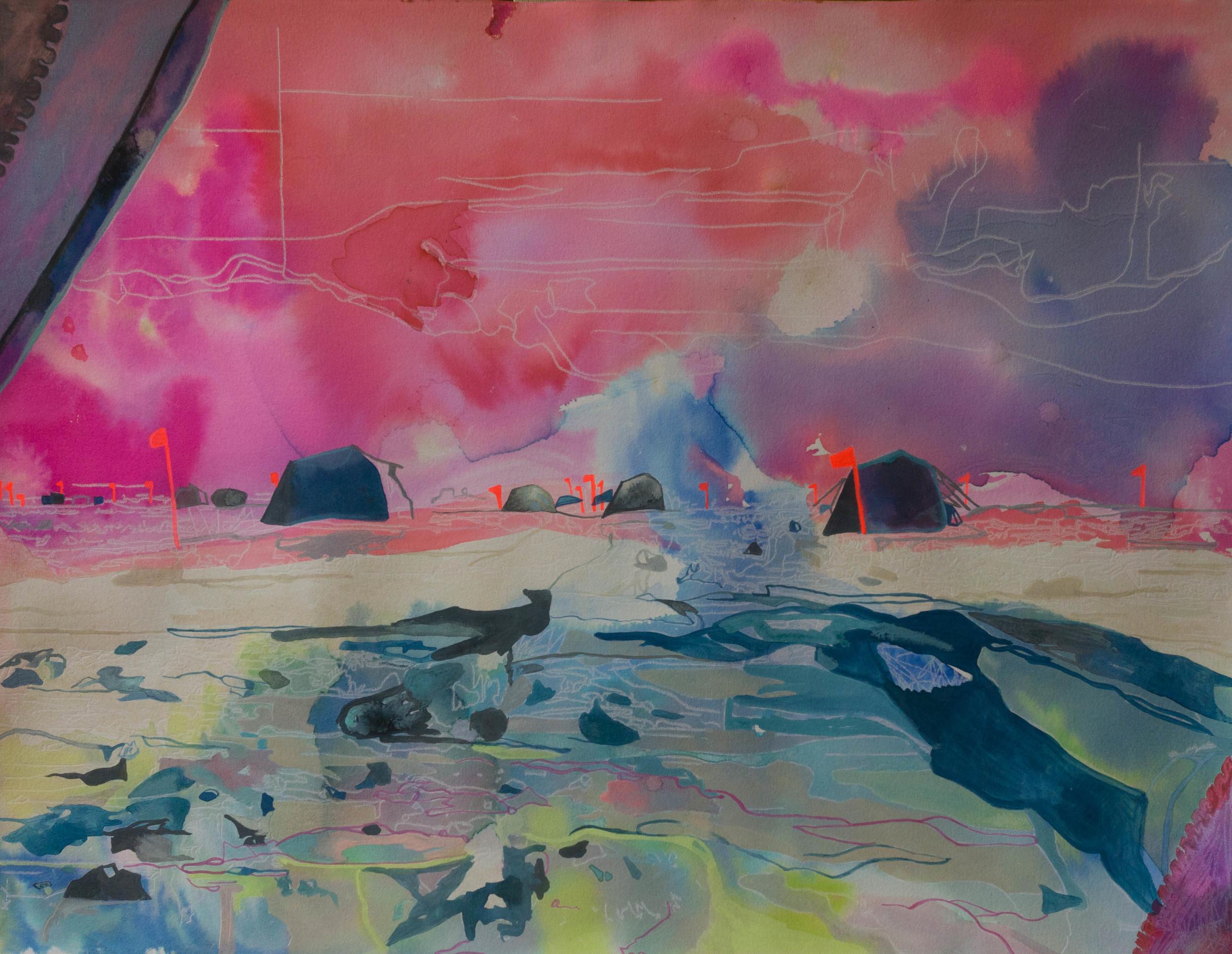 "Winner, Undergraduate, Natalie Graff ""Morning clouds over WAIS Tent City"", mixed media"