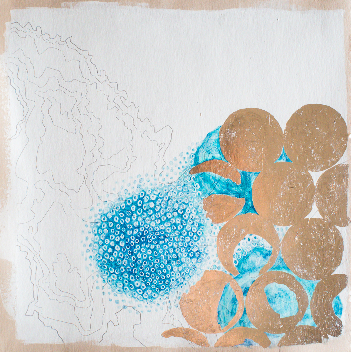"Winner, Emerging Artist, Clairissa Stephens, ""Air Archive"" (Silverpoint, silver leaf and watercolor on paper)"
