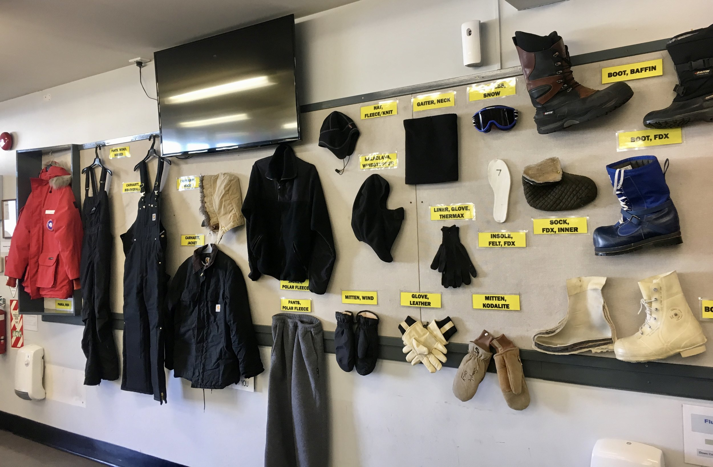 Some examples of the Extreme Cold Weather (EWC) gear issued to U.S. Antarctic Program participants