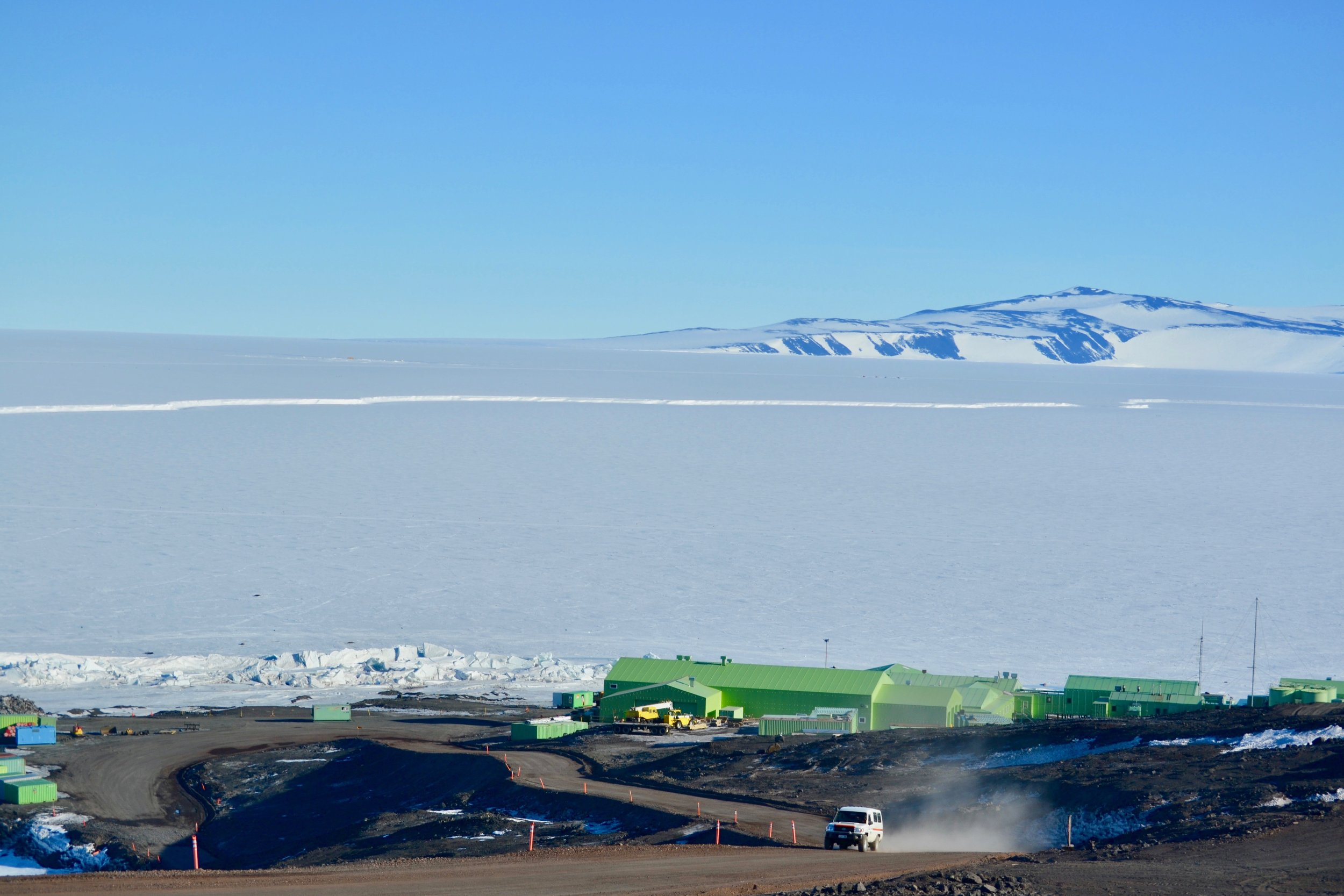 A view of Scott Base, the New Zealand station about 1.5 miles down the road from McMurdo
