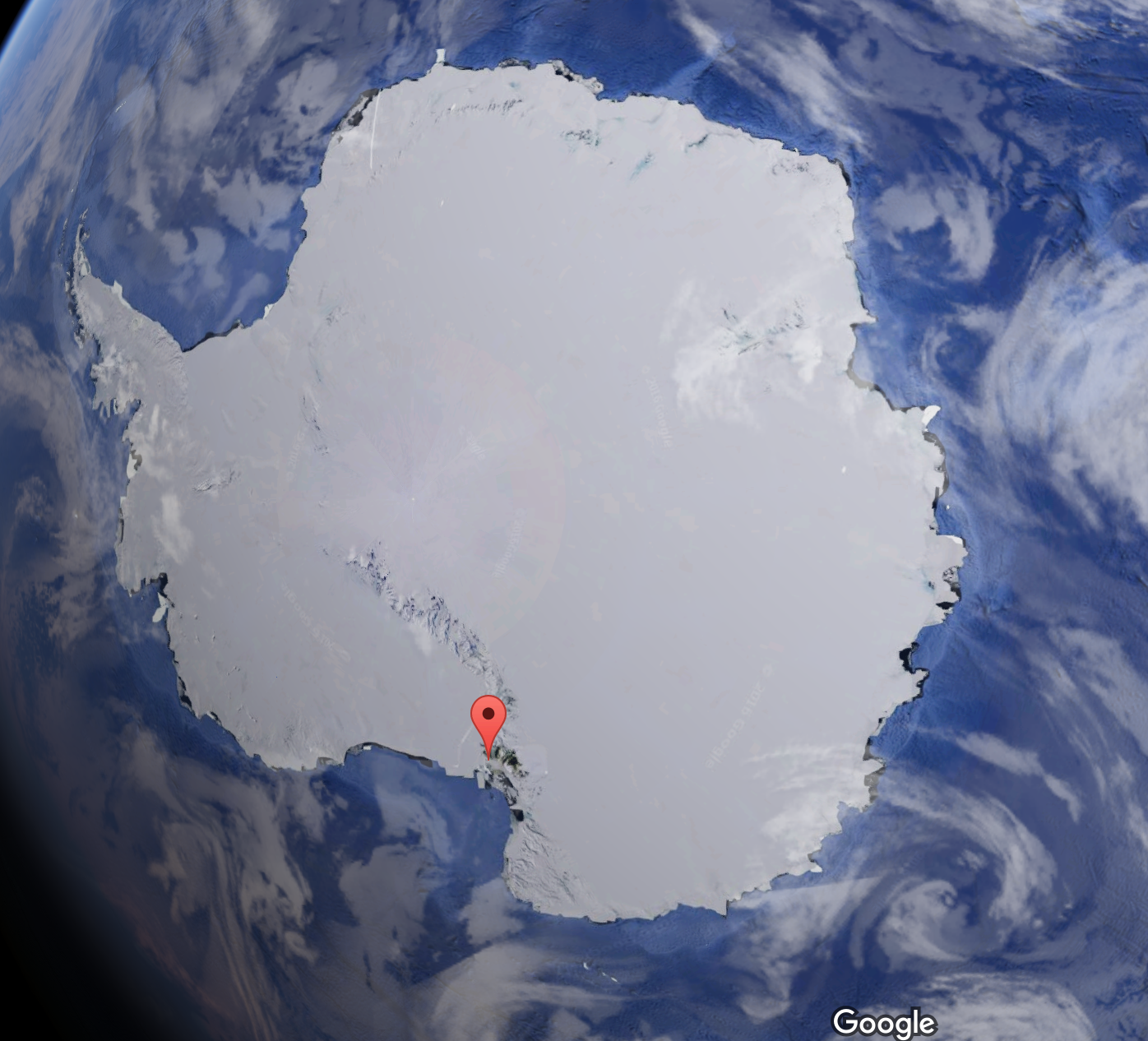 Map of Antarctica with McMurdo Station flagged (courtesy of Google Earth)