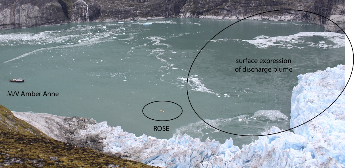 View from one of our time-lapse cameras showing our research vessel (the Amber Anne) and ROSE (the Robotic Oceanographic Surface Explorer) headed towards the glacier face and subglacial discharge plume that is the prime objective for our sampling.