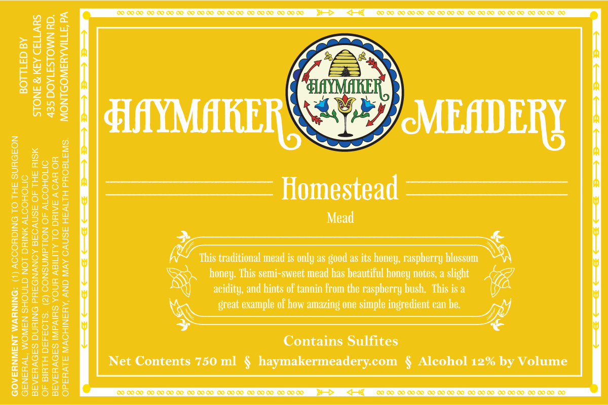 Homestead - This traditional mead is only as good as it's honey, raspberry blossom honey. This semi-sweet mead has beautiful honey notes, a slight acidity, and hints of tannin from the raspberry bush. This is a great example of how amazing one simple ingredient can be. Semi Sweet Mead 750ml12% ABV