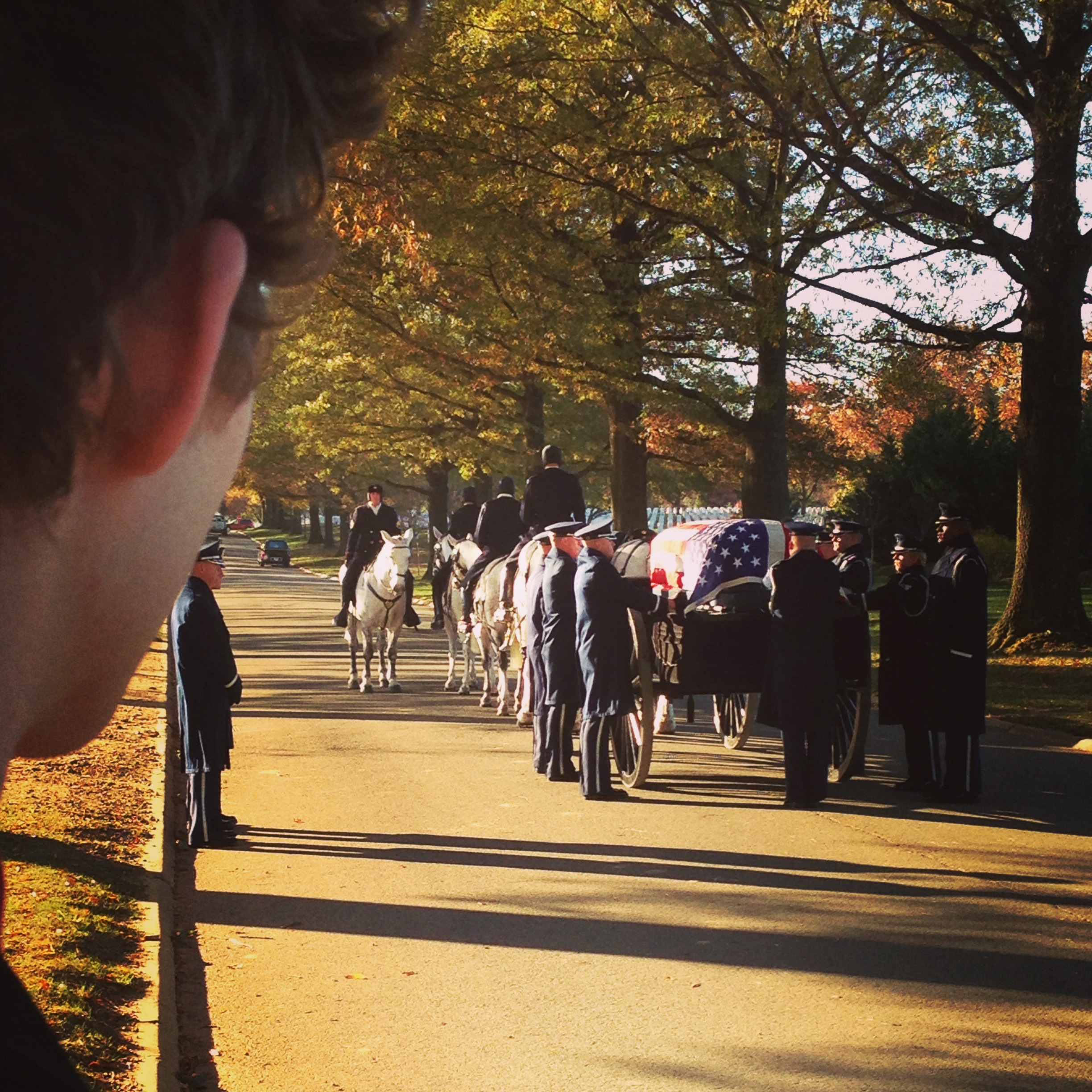 Michael watching during the procession as his Grandpa Bowman's funeral at Arlington National Cemetery. It was so special seeing him be honored as a veteran who fought during WWII and spent a career dedicated to serving our nation.